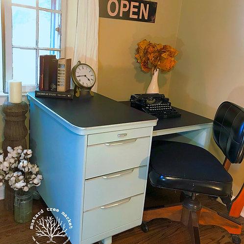 """""""Blue Steel"""" 1950 Vintage Tanker Desk w/Chalkboard Top"""