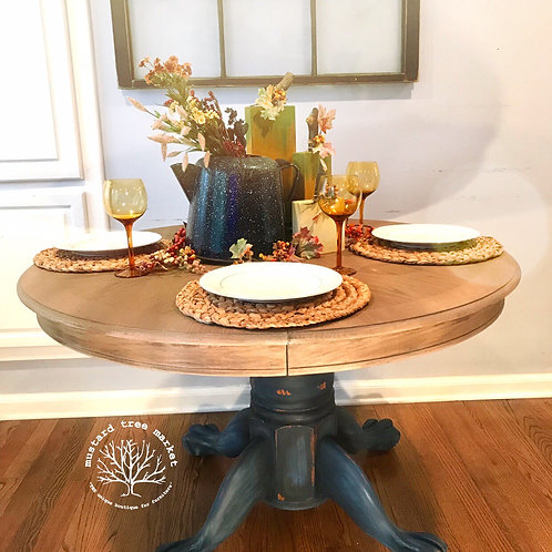 """Barnwood Blues"" Farmhouse Pedestal Table"