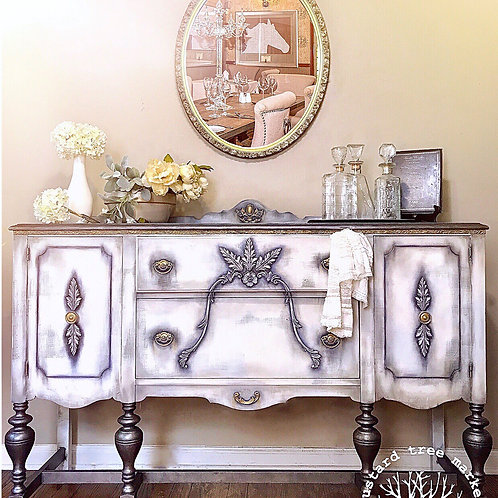 """Steel Magnolia"" Vintage French Linen Buffet"