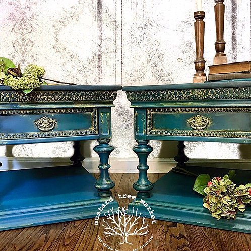 """Tangled in Teals"" Set of Jacobean Vintage Bohemian End Tables"
