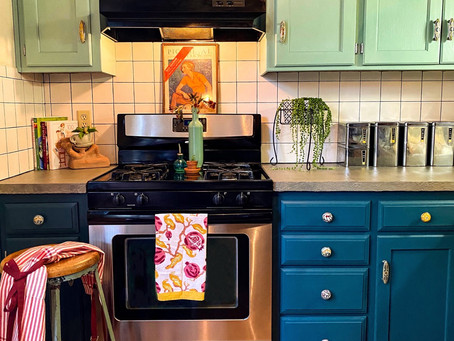 Boho Kitchen, How To Make Concrete Countertops Over Laminate, Painted Cabinets, How To Paint Tile