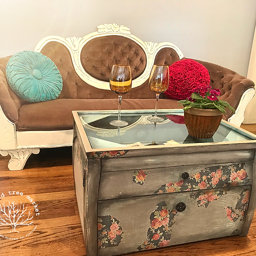 """Damsel in Distress"" Vintage Display Case Coffee Table"