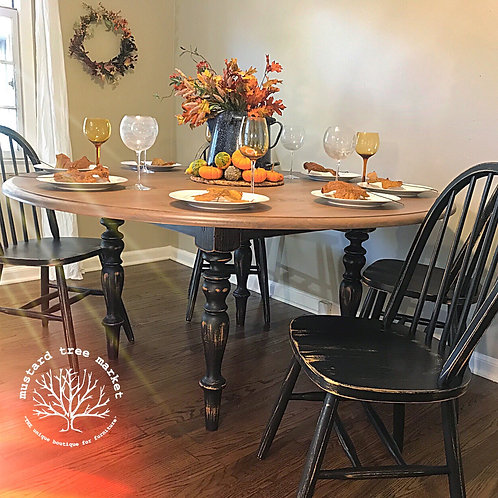 """Holiday on the Farm"" Large Weathered Round Dining Set"