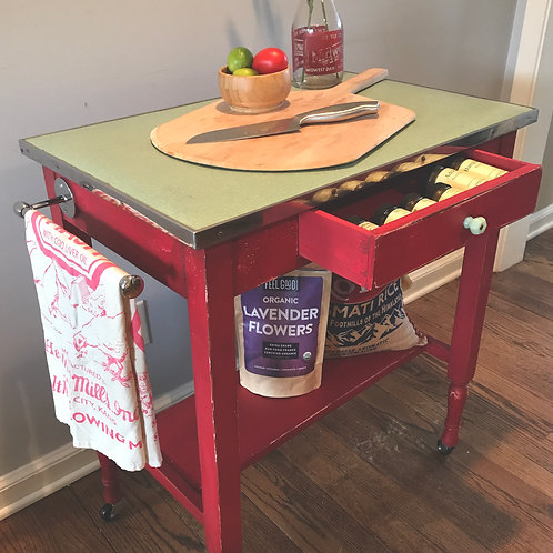 Vintage Rolling Kitchen Island/Bar