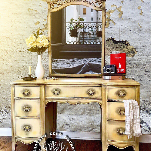 Vintage Large Vanity with Detached Mirror