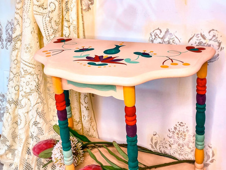Table Makeover: Thrift Store  Find, Boho-Style, Anthropologie Side Table