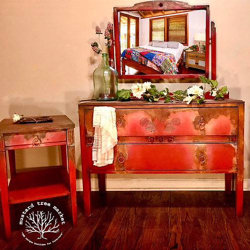 """Rusty Rose"" Romantic bohemian Dresser & Single Nightstand"