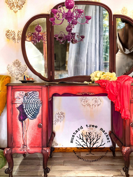 How to Paint a Vintage Vanity Table | Vintage Pinup | How To Decoupage on Wood