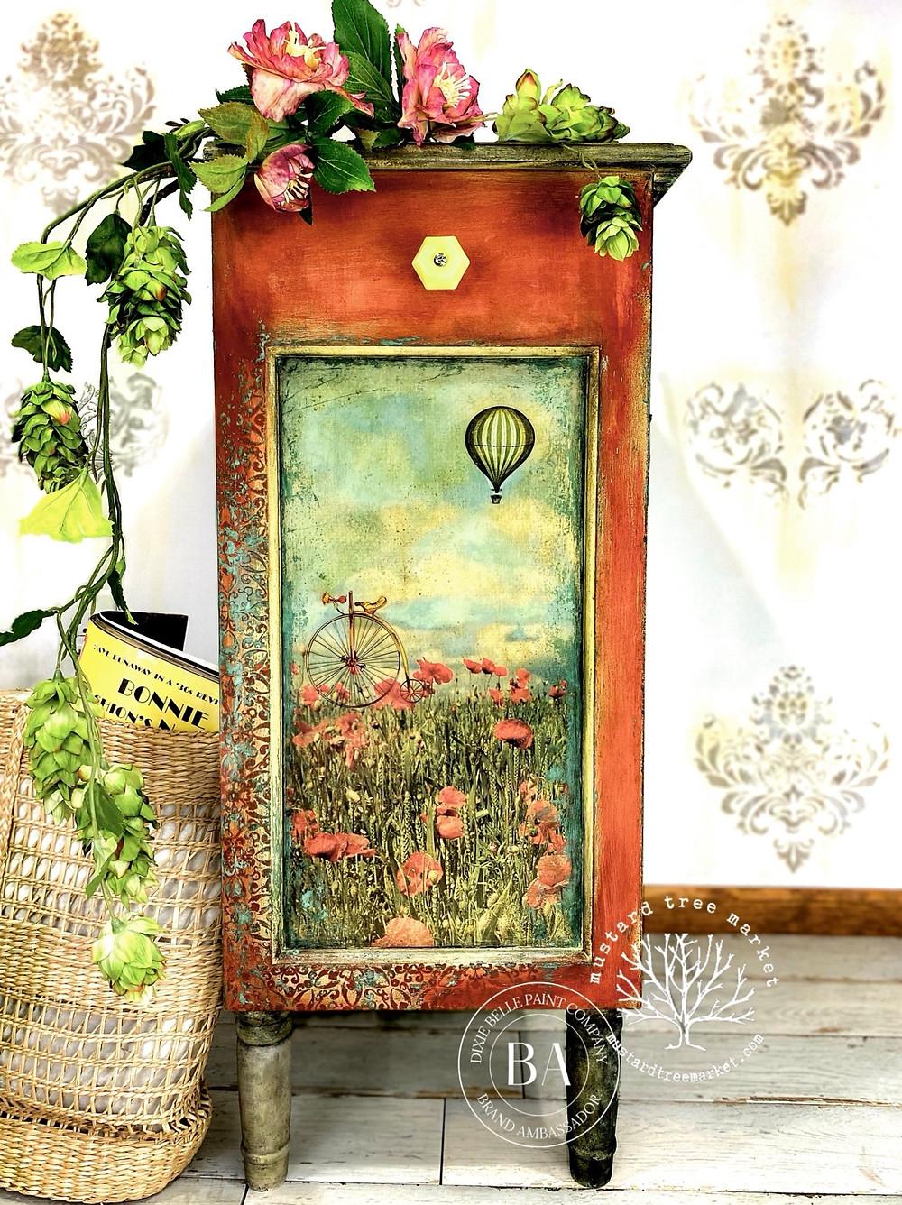 Furniture Flip, Ikea nightstand makeover, Dixie Belle Paint Ideas, chalk painted furniture, furniture transfers, romantic grunge, mustard tree market