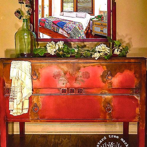 """Rusty Rose"" Antique Romantic Bohemian Dresser"