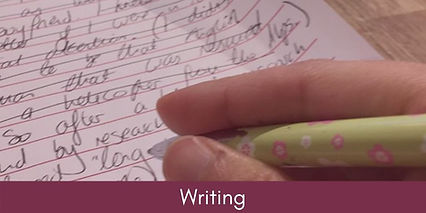 A hand writing, linking to the Writing page