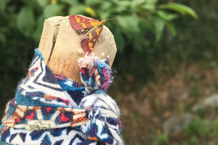 Wooden pilgrim's walking stick wrapped in material with a red moth on the end