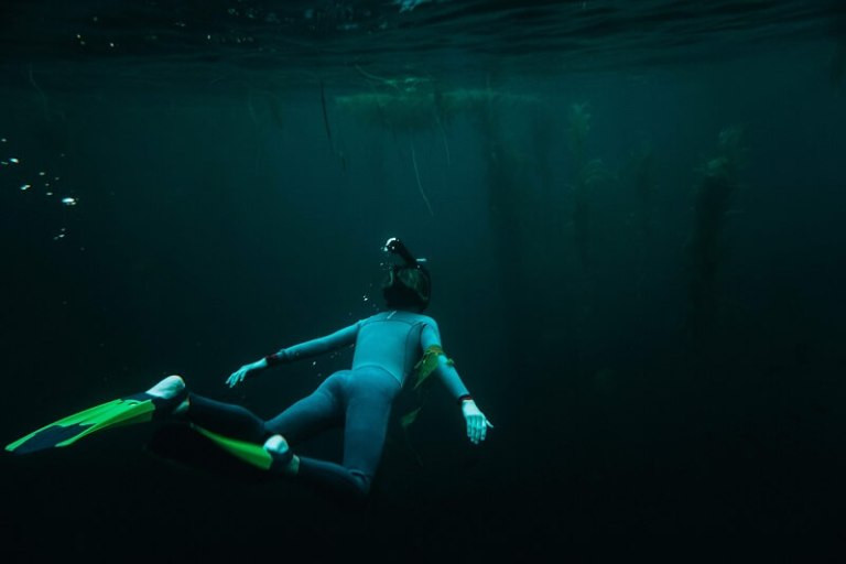 Scuba diver in dark water - Shane Stagner via unsplash