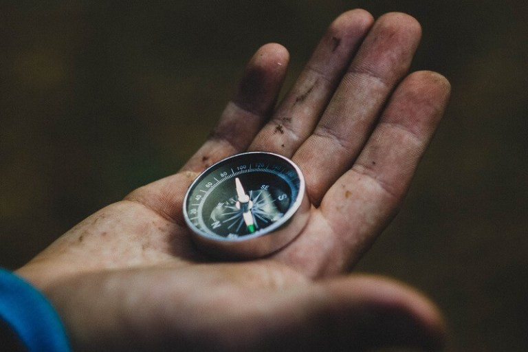 Compass in a hand ready for adventure