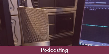 Picture of a microphone linking to the Podcasting page.