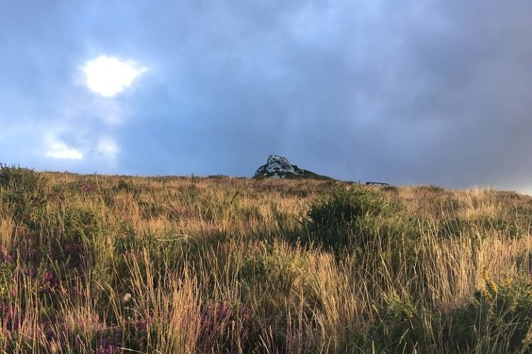 Sunrise behind a mountain on the Camino Primitivo in Northern Spain