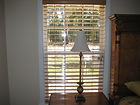 Stained wood blinds.