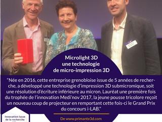 Microlight 3D de nouveau récompensé... au Concours I-LAB cette fois !