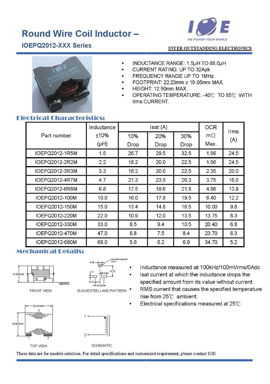 _Round Wire Coil Inductor - IOEPQ2012 Se