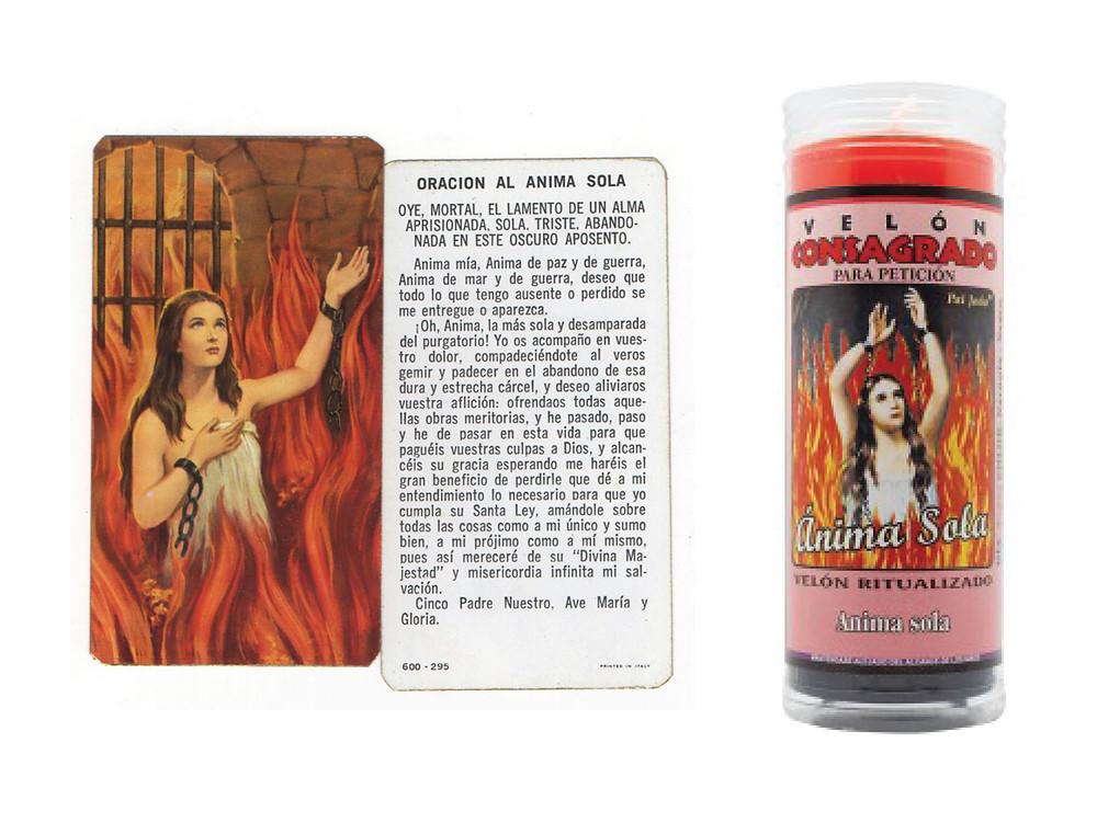 Anima Solas prayer card and votive candle.