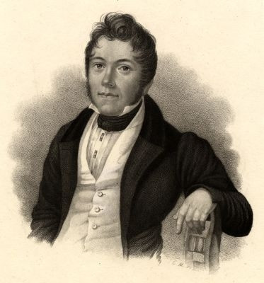 Portrait of Johann Schieble. Young man in a dark coat and white vest with his arm hanging over the arm of a chair.