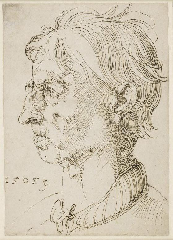 "Albrecht Dürer, ""Head of a man in profile to left,"" 1505, ink on paper, 8.19"" h x 5.8"" w"