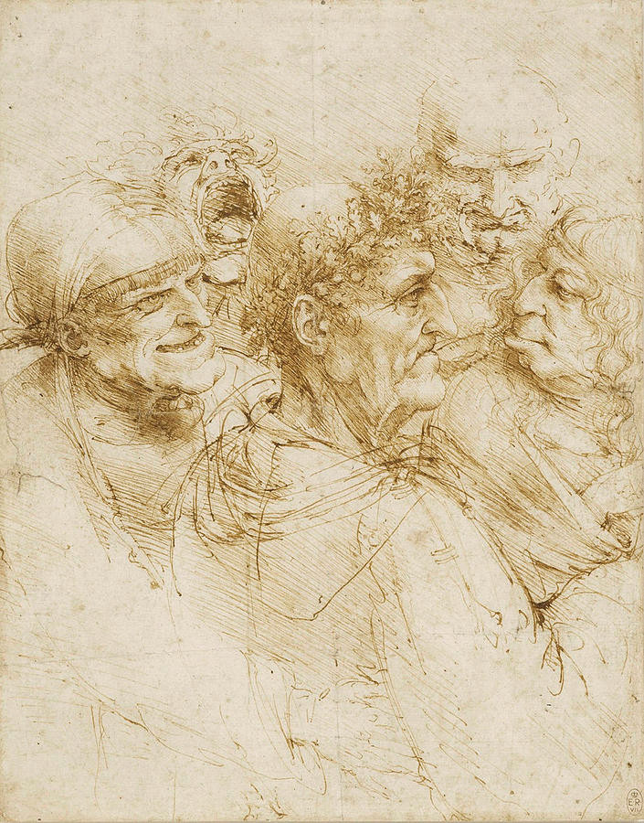 """Leonardo da Vinci, Study Of Five Grotesque Heads 1493, Ink on paper, 10.26"""" h x 8.11"""" w, Royal Collection Trust, London"""