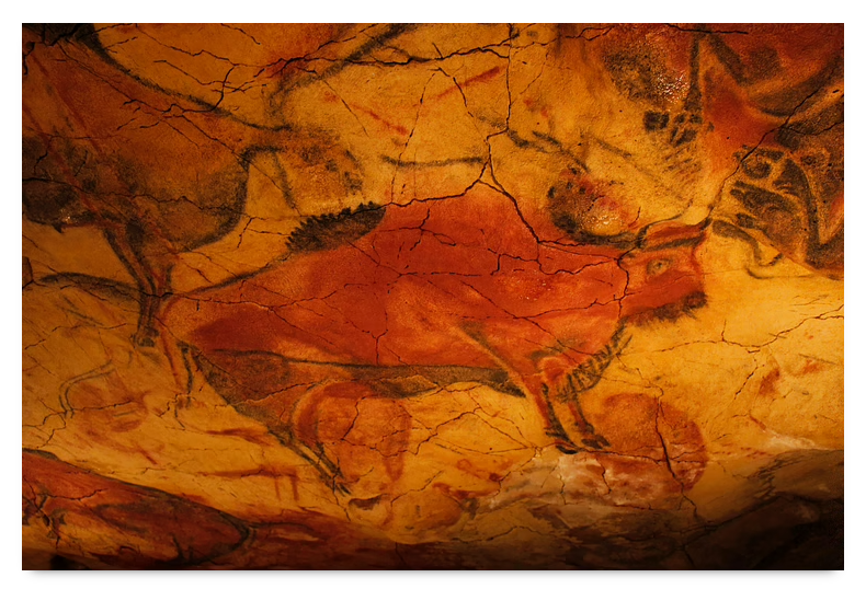 Paleolithic cave painting of a bison from Altimaria, Spain.