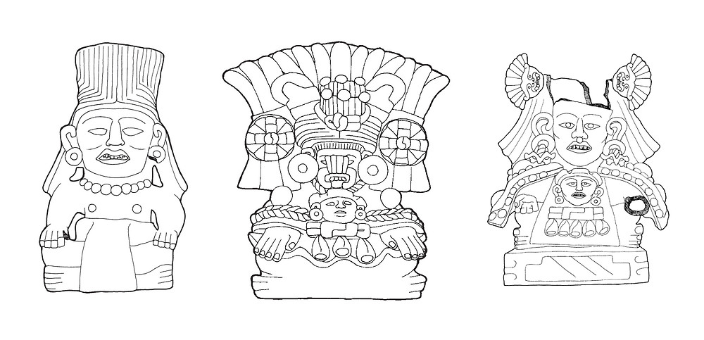 Three effigy urns from Tomb 104.