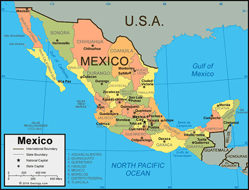 Map of Mexico showing its states.