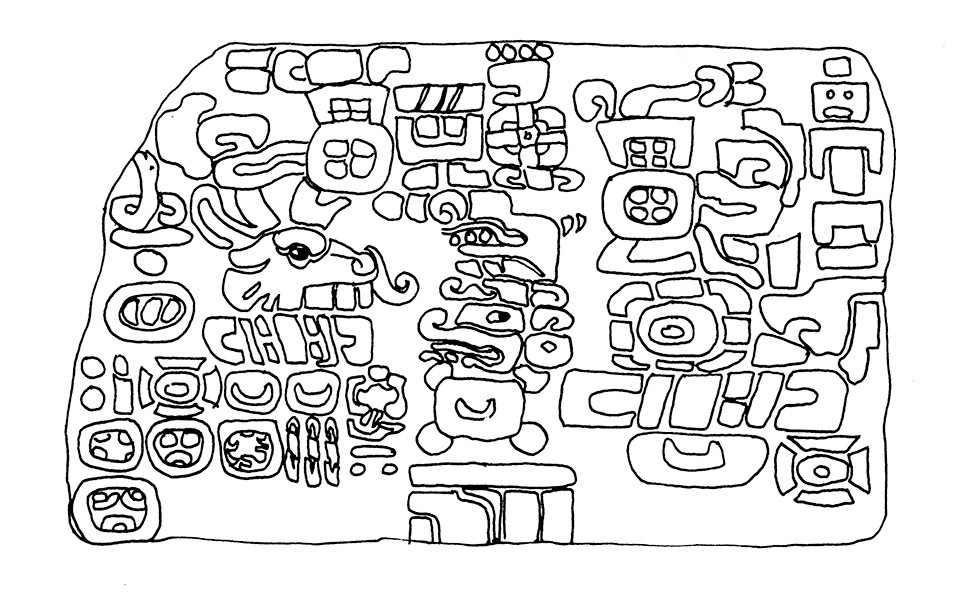 Drawing of the sealing stone of Tomb 104 showing the carved glyphs.