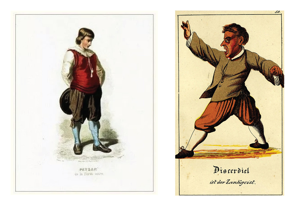 Left: 1800 German clothing form the Black Forest. Right: Figure, page 211 by Karl Kohl from Magia Naturalis et Innaturalis