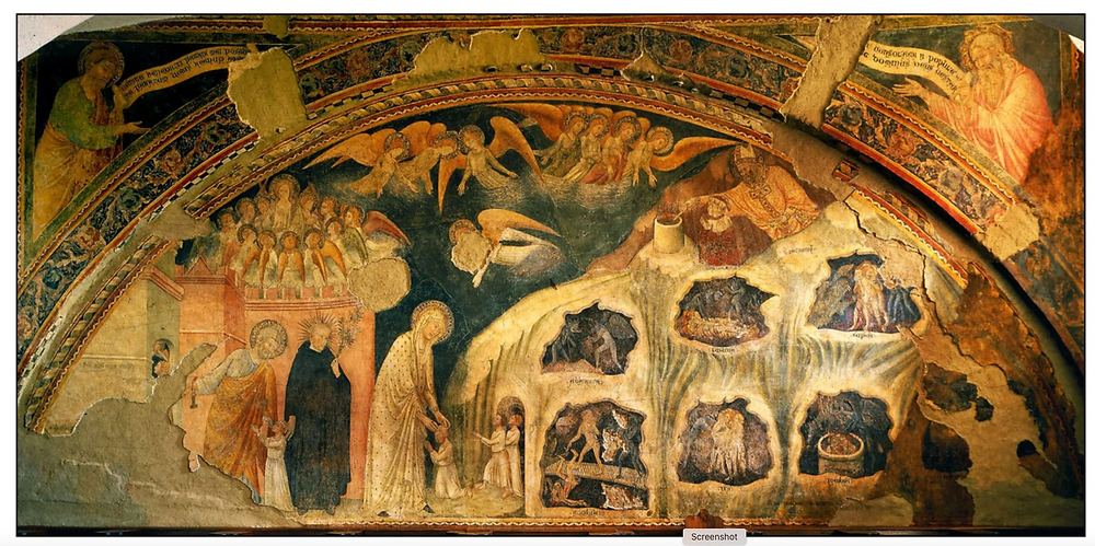 Fresco of Purgatory,1346 painted by Jacopo di Mino del Pelliccoiaio, the Convent of San Francisco, in Todi, Umbria, Italy,