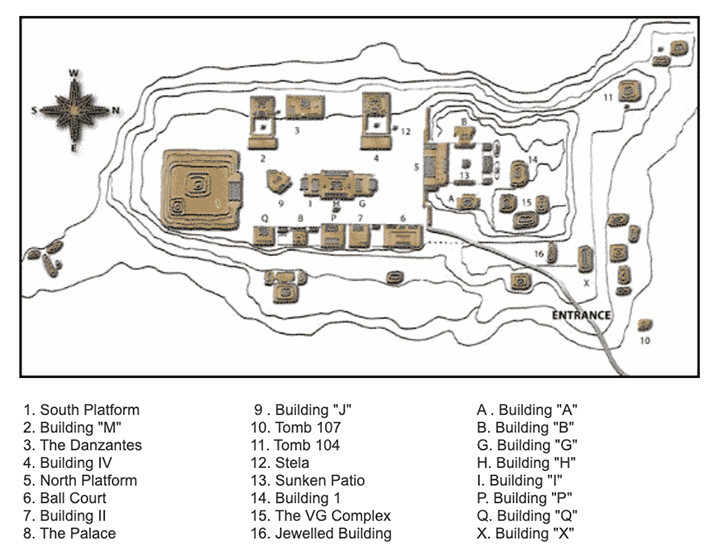 Map of Monte Alban.