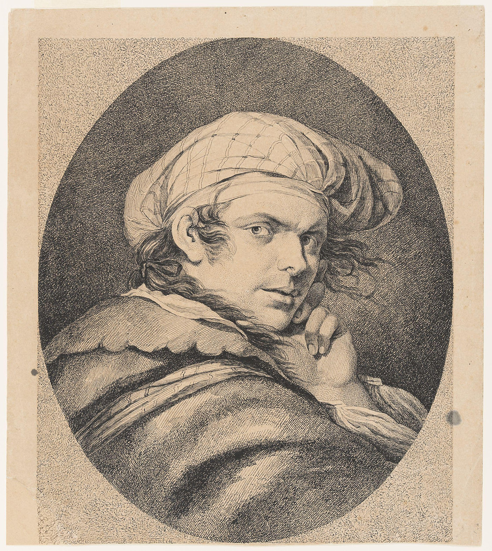 """John Hamilton Mortimer, """"Self-portrait, head and shoulders, wearing a turban,"""" late 18th century, pen and ink, 14.25""""h x 11.75""""w"""