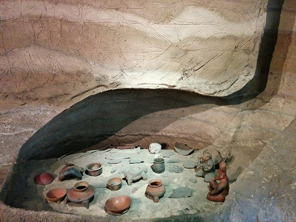 A reconstruction of a shaft tomb.