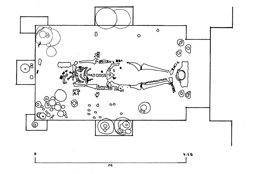Drawing showing the placement of the skeleton and pottery in Tomb 104.