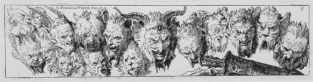 """Giovanni Domenico Tiepolo, """"Heads of Satyrs and other Grotesque Heads,"""" 1774, Etching, Plate: 2 5/8""""h × 10 11/16""""w, Sheet: 4 11/16"""" h × 12 15/16"""" w"""