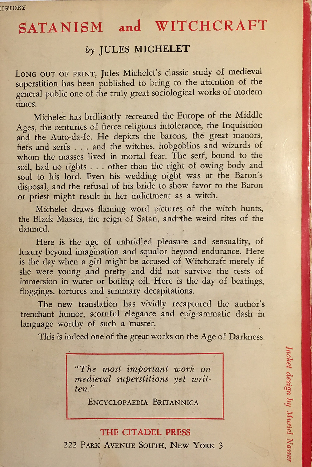 Back cover boiler plate copy of 1963 edition Satanism and Witchcraft