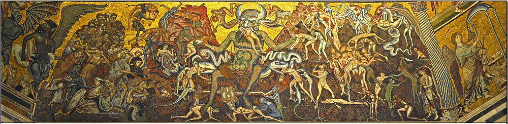 Mosaic, 11th century  Baptistry or Baptistery dedicated to St John the Baptist, interior showing the cupola with Satan eating the sinners, Florence, Italy