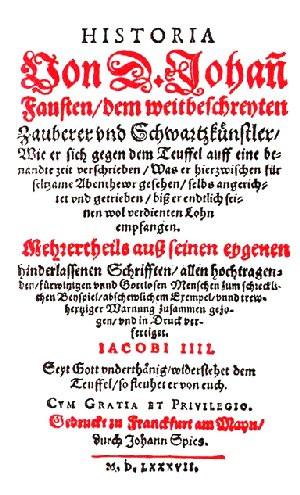 """""""Historia von D. Johann Fausten,"""" published in 1587"""