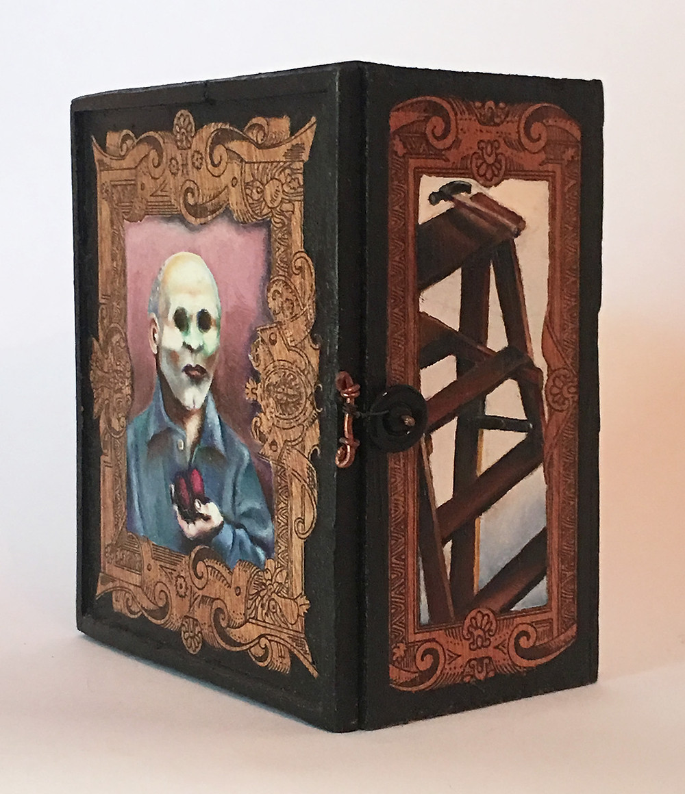 Side view of Ghost Box showing painting of a ladder.