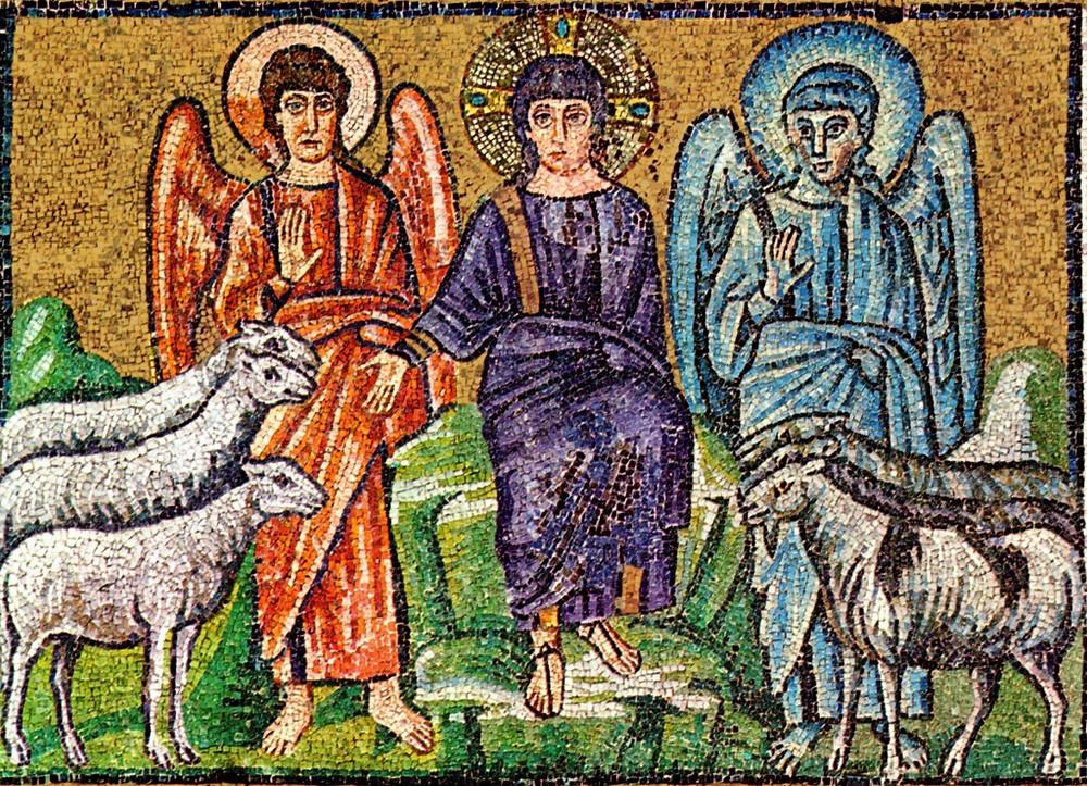 Dividing the sheep from the goats. Mosaic, Revenna, Italy