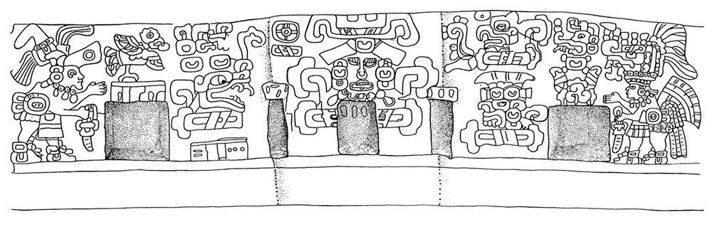 Schematic drawing of Tomb 104 wall murals.