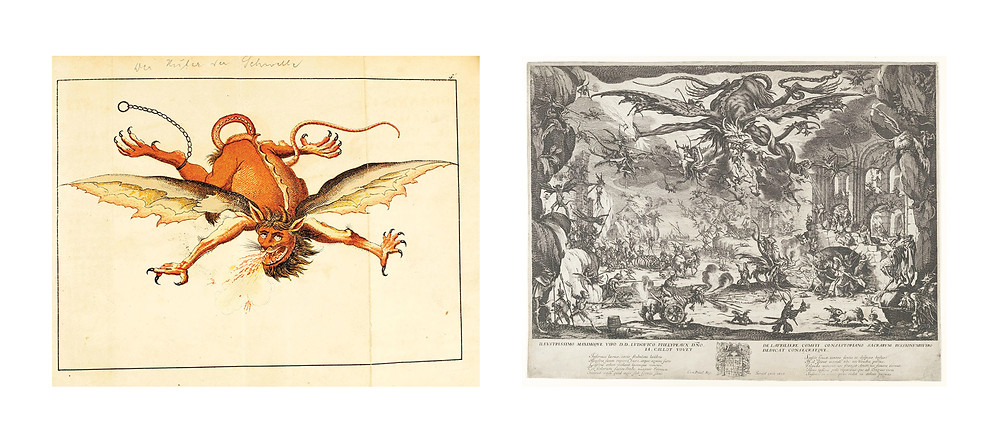 Left: Flying demon by Karl Khol, page 53 of Magia Naturalis et Innaturalis. Right: The Temptation of St. Anthony, Jacques Callot (French, Nancy 1592–1635 Nancy), 1635, Etching; third state of five (Lieure), Sheet: 14 3/16 x 18 1/2 in.