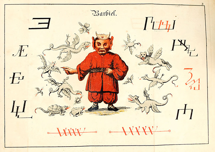 Barbiel demon wearing red coat and trousers surrounded by flying creatures and sigils.