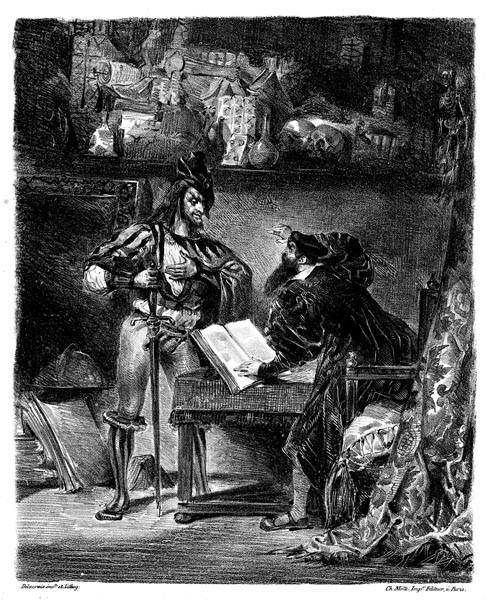 "Eugene Delacroix, ""First Meeting between Faust and Mephistopheles: `Why all this Noise?'"" from Goethe's Faust, 1828, lithograph, Bibliotheque des Beaux-Arts, Paris, France"