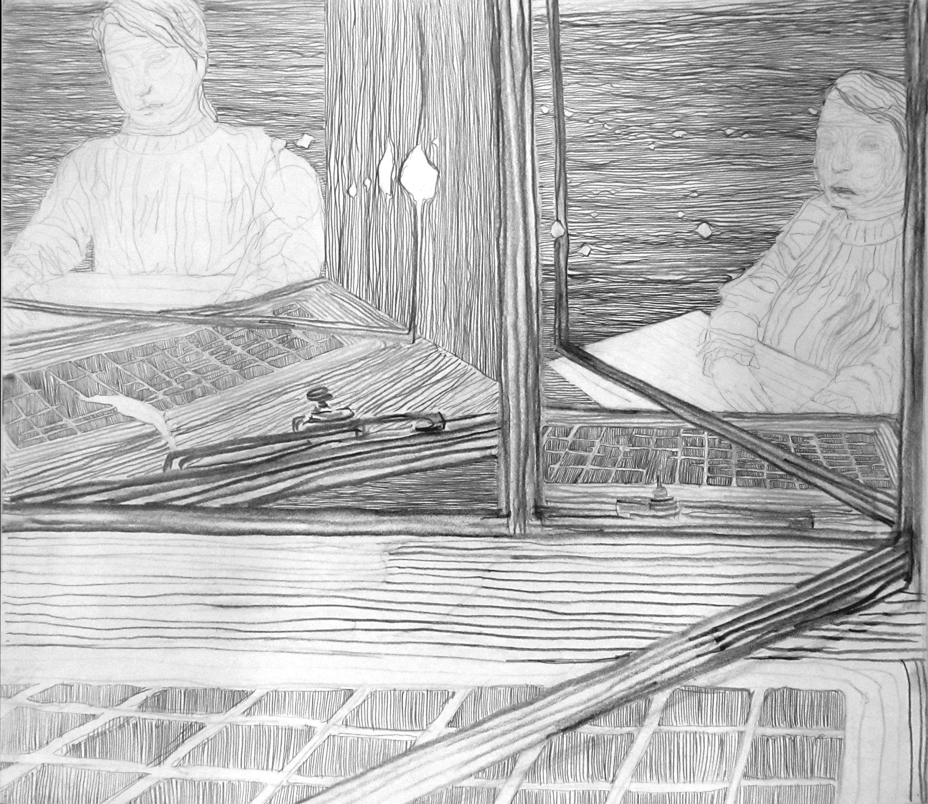 Self-portrait in library window