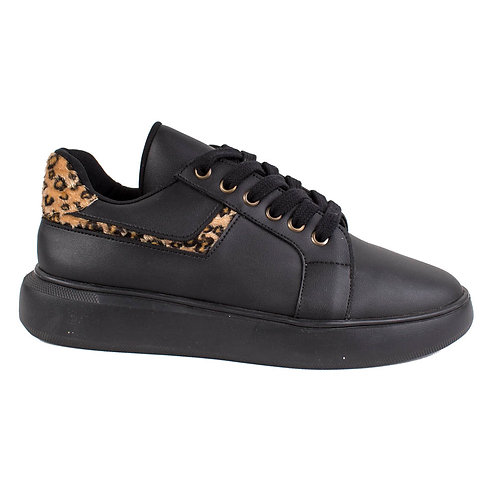 Zapatilla Exs Leopardo Negra