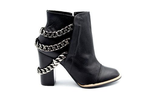 Botín Versace Negro Cadenas